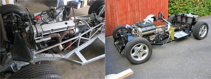 Modified Bel Air chassis with Chevy V8, and RV Dynamics-manufactured chassis with BMW powerplant (Vince Wright)