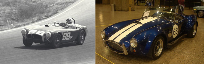 AC Cobra Mk I on the track (ultimatecarpage.com) and Mk II at the Auto Classique (Wikipedia)