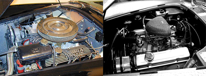 Windsor Ford 4.7-lt V8 in a 1964 Mk II (ritzsite.net), and the Python's rebuilt Chevy 4.7-lt V8 (David Blacker)